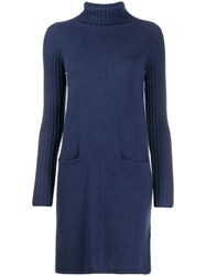 Allude Long Sleeve Knitted Dress Blue