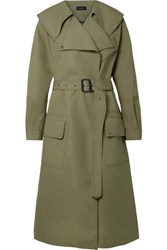 Joseph Damon Oversized Cotton Garbardine Trench Coat Army Green