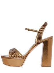 Casadei 120Mm Quilted Metallic Leather Sandals