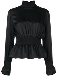 Tom Ford Zip Up Silk Blouse Black