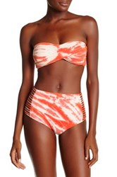 Lucky Brand Fireworks Lattice Back Bandeau Top Red
