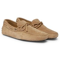 Tod's Gommino Suede Driving Shoes Sand