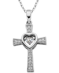 Giani Bernini Fluttering Cubic Zirconia Cross Pendant Necklace In Sterling Silver