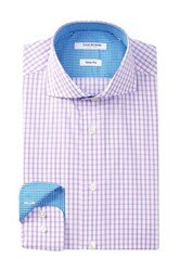 Isaac Mizrahi Long Sleeve Slim Fit Check Dress Shirt Purple