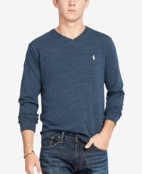 Polo Ralph Lauren Men's V Neck Long Sleeve Shirt Blue Eclip