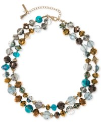 Lonna And Lilly Gold Tone Multi Bead Layer Collar Necklace Blue Multi