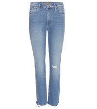 Mother Rascal High Waisted Ankle Jeans Blue