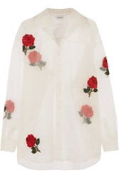 Ashish Embellished Appliqued Silk Organza Shirt White