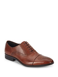 Saks Fifth Avenue Perforated Leather Oxfords Cognac