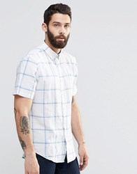 Farah Shirt In Slim Fit With Window Pane Check Short Sleeves White