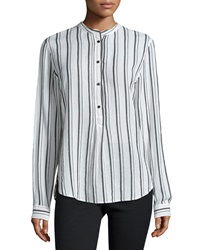 Isabel Marant Skinny Striped Henley Blouse White Black