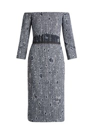 Carl Kapp Jean Off The Shoulder Boucle Dress Blue White