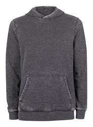 Topman Dark Grey Burnout Wash Hoodie