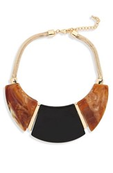 Cara Wood Effect Acrylic Necklace Brown