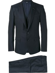 Dolce And Gabbana Bee Patch Patterned Three Piece Suit Blue