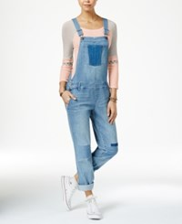 American Rag Patched Malfa Wash Denim Overalls Only At Macy's