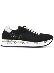 Premiata Lace Up Sneakers Women Nylon Rubber 39 Black