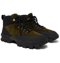 Moncler Hector Suede And Rubber Hiking Boots Green