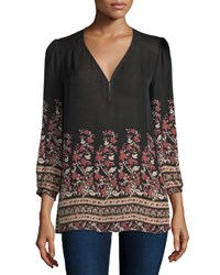 Joie Riva Floral Print 3 4 Sleeve Georgette Top Caviar