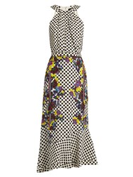 Saloni Ruby Polka Dot And Floral Print Silk Dress Black White