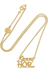 Marc By Marc Jacobs Bunny Hop Gold Plated Cubic Zirconia Necklace Metallic