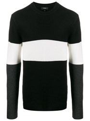 Theory Tri Coloured Jumper Black