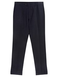 Jigsaw Linen Jacquard Slim Fit Suit Trousers Navy