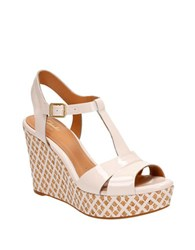 Clarks Amelia Roma Patent Leather T Strap Wedge Sandals Pink