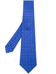 Kiton Embroidered Tie Men Cotton One Size Blue