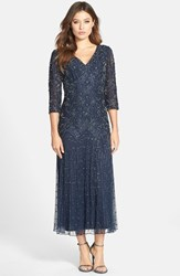 Petite Women's Pisarro Nights Beaded Mesh Drop Waist Dress Navy