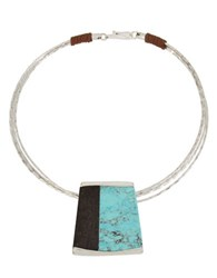 Robert Lee Morris Mosaic Semi Precious Turquoise Stone Geometric Pendant Wire Collar Necklace Blue