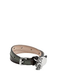 Alexander Mcqueen Wraparound Leather Bracelet Green Multi