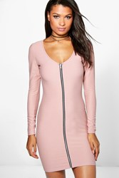 Boohoo Long Sleeve Zip Through Bodycon Dress Mocha