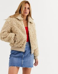 Moon River Shearling Faux Fur Jacket Beige