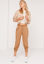 Missguided Perforated Faux Suede Cuffed Joggers Tan Brown
