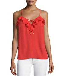 Ella Moss Nete Ruffle Trim Sleeveless Top Cherry Red Women's