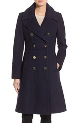 Guess Women's Fit And Flare Military Coat Navy