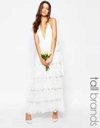 Fame And Partners Tall Bridal Tiered Maxi Dress White