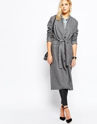 Just Female Ray Maxi Coat In Grey Melange Greymel