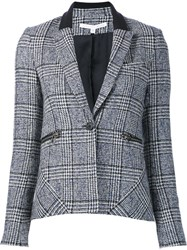 Veronica Beard Plaid Single Breasted Blazer Blue