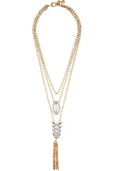 Lulu Frost Rococo Gold And Silver Tone Crystal And Cabochon Necklace Nude