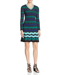 M Missoni Ripple Ribbon Stitch Dress Teal