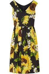 Dolce And Gabbana Floral Print Cotton Poplin Dress Yellow