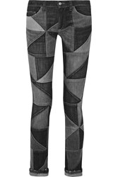 Etoile Isabel Marant Drappy Patchwork Low Rise Skinny Jeans Black