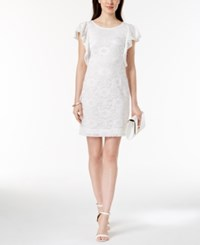 Robbie Bee Petite Flutter Sleeve Lace Dress Ivory