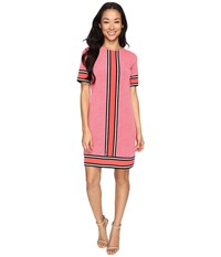 Michael Michael Kors Short Sleeve Stingray Border Dress Coral Reef Women's Dress Red