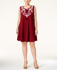 Styleandco. Style Co. Plus Size Embroidered Peasant Dress Only At Macy's New Red Amore
