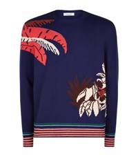 Valentino Palm Tree Cashmere Jumper Male Blue