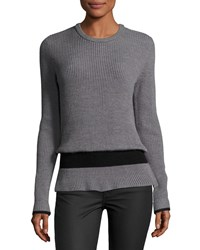 Baandsh Ribbed Crewneck Long Sleeve Wool Sweater Gray