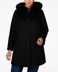 Forecaster Plus Size Fox Fur Trim A Line Hooded Coat Only At Macy's Black
